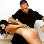Hard spanking & just deserts for naked young comely - lavishly striped ass