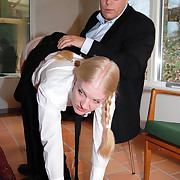 Blonde pigtailed girl is expected over hammer away knee for a sound control