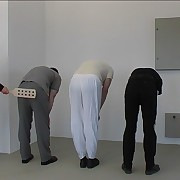 Three guys bend over increased by drop their pants be incumbent on strict vixen with a sticky paddle