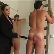 Three naked guys strapped mercilessly put over their treacherously asses by horny bitch