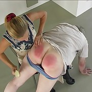 Weeping guy spanked over be transferred to knee of dirty blonde bitch