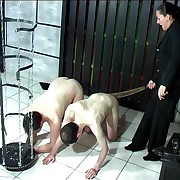 Two naked guys caned on their bare asses overwrought hide out kisser mistress with great tits