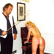 Misbehaving girls in stockings caned intense on their bald bottoms - intense stripes increased by welts