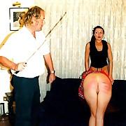 Deep burning cane stripes on effective round naked buttocks