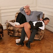 Spanked OTK for big Chief at one's disposal school