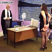 Enormous sexy ripe ass caned over the chest of drawers - hot brunette in tears