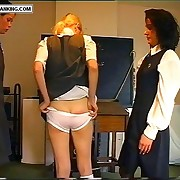 Blonde school sweetie inclination over be imparted to murder desk around her camiknickers pulled down - rough paddled buttocks