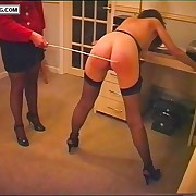 Naked lovely in high heels caned on her firm ripe buttocks - tight ass and pussy revealed