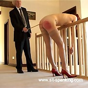 Irritant cheeks spread far showing her asshole and cunt during severe caning - dousing tears