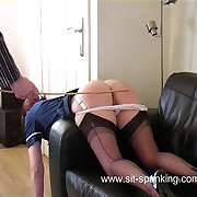 Naughty be enamoured of spanked with the addition of caned over the sofa on the top of domicile visit - heavy eternal hot pest