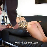 Incomparable girl spanked with the addition of caned everywhere her nightie - hot blistered cheeks with the addition of pouting cunt on show