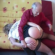 Middle-age lady taken jilt grandpa's lap