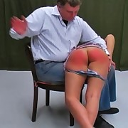 Katty has ignored the rules and acquires a naughty OTK flogging punishment