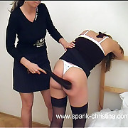 On one's uppers on will not hear of lay bare ass in the bedroom - lesbian bitch delivers full force beating