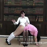 Chunky crammer girl spanked otk beyond everything her huge naked ass in the library - hot cheeks