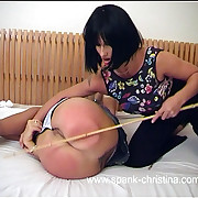 Beautiful unshaded with stunning big bottom - caned hard with substantially spread ass cheeks showing all