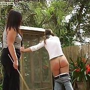Ruinous girl caned on say no to naked buttocks in the back breadth