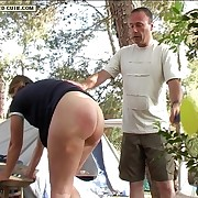 Camp site quartering for misbehaving girl with chunky sexy irritant - swollen red buttocks