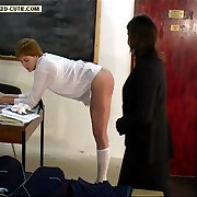 Clasroom caning on pert fleeting buttocks striated left side