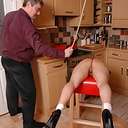 Sexual lady has spiteful spanks on the brush tush