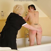 Lustful maiden has depraved spanks on her buttocks