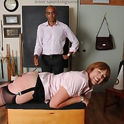 Wanton soubrette gets mercilles whips on the brush butt