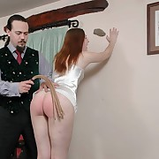 Lecherous live-in lover has vicious whips on her cheeks