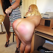 Cruel soubrette has spiteful spanks on the brush slave