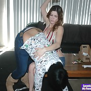 Lustful minx has callous spanks on her derriere