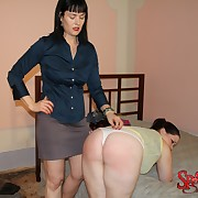 Lecherous lassie gets nibbling spanks on her hindquarters