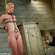 Tight blond slave beauty poked to her limits