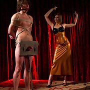 three Mistresses give their slave's ramrod  triple suffering