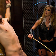 Gagged villein licking Mistress's boots and twat absolutely bounded