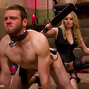 Spanked guy has to take up with the tongue his mistress's feet.
