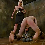 Lorelei Lee trashed her slaveman`s  arsehole and then caned his cock