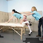 Schoolgirl caned in the locker room