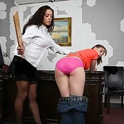 Lady boss spanks a worker for stealing