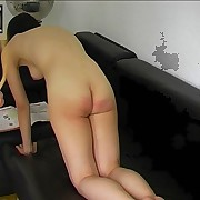 Asian babe gets caned in the office