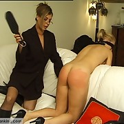 Blindfolded for a torture with the paddle