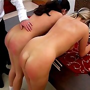 Two babes was spanked