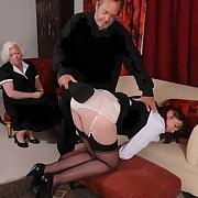 Daddy boss spanked and paddled bad secretary milf principle very hard