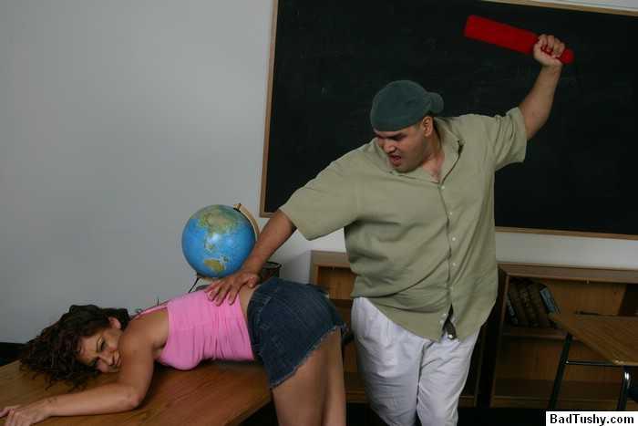 female teacher spank male student