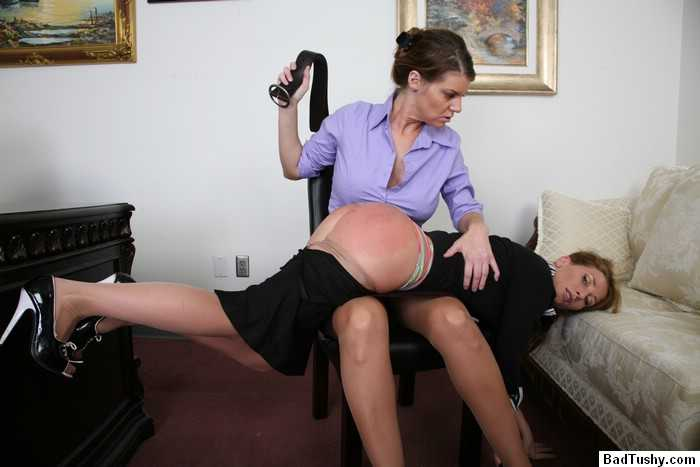 Badly spanked girls in principal office
