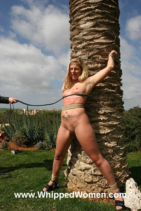 image Outdoor whipping of blonde wife in hardcore public bdsm and milf humiliated