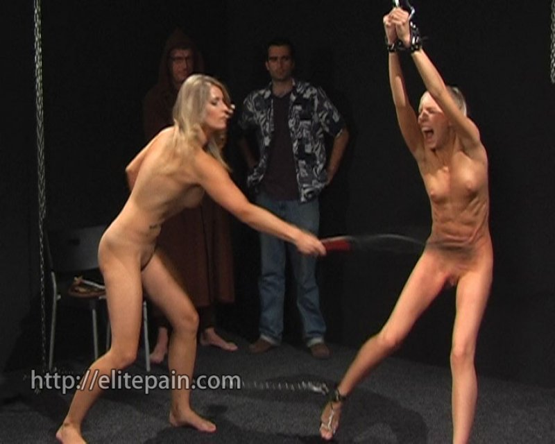 Blonde teen gets caned bent over a table 3