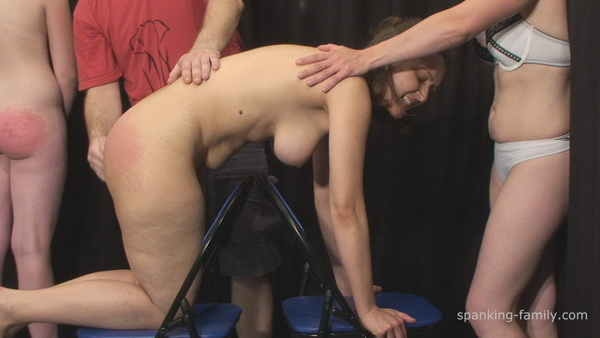 Girl bare bottom belt spanking