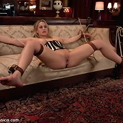 Busty beauty Alanah Rae, a sex villein screwed in bondage.