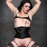 This time she is subjected to teat clamps, restraints, spreader-bars, clothespins on her labia, and compulsory orgasms with the Hitachi