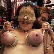 MILF gets huge tits tied up and is publicly abused.