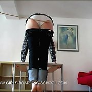Young teenage pussy bows over for a painful caning